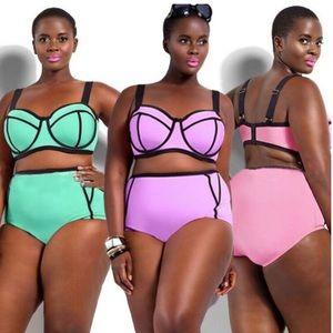 Other - Plus Size Technicolor High-Waist Bikini